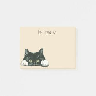 gato negro divertido de las notas de post-it del