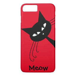Gato negro divertido peculiar felino funda iPhone 7 plus