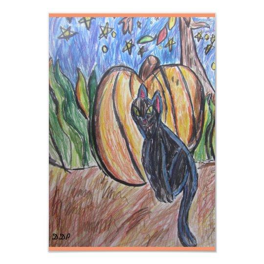 gato negro dos invitación 8,9 x 12,7 cm