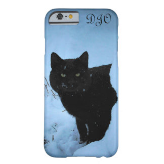 Gato negro el mirar fijamente Nevado Funda Barely There iPhone 6