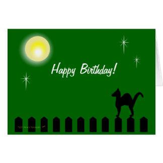 Gato negro en cumpleaños de encargo divertido de tarjeta de felicitación