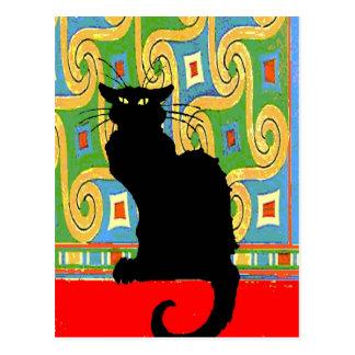Gato negro en el papel pintado abstracto postal