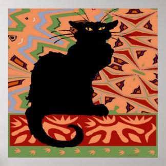 Gato negro en el papel pintado abstracto poster