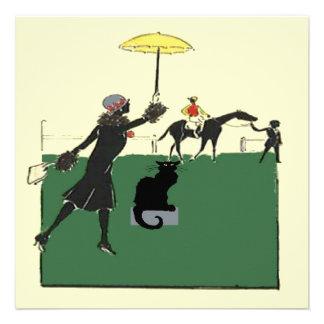 Gato negro en la carrera de caballos anuncio personalizado
