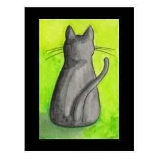 Gato negro en la postal verde
