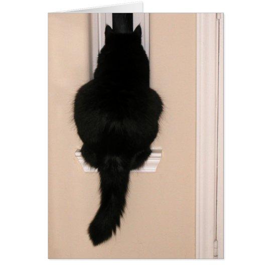 Gato negro en ventana flaca tarjeta de felicitación