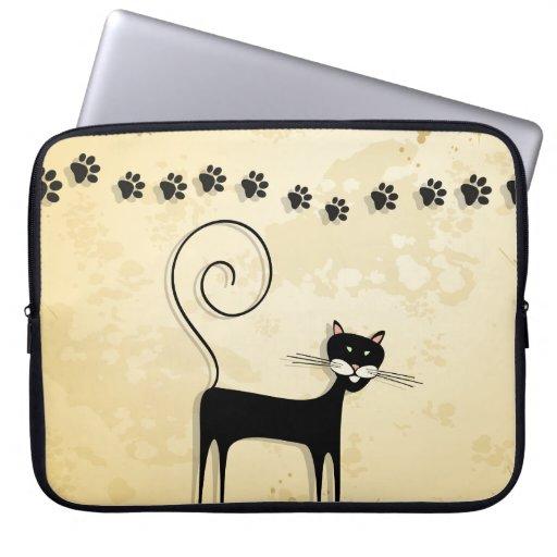 Gato negro fundas portátiles