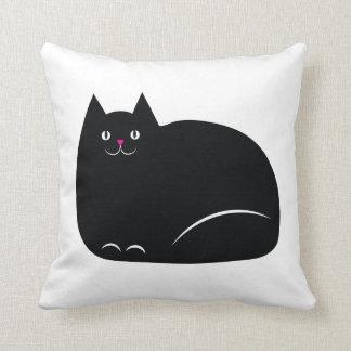 Gato negro gordo cojín decorativo