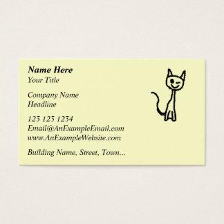 Gato negro, guiñando tarjeta de negocios