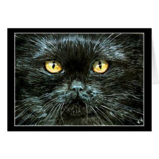 Gato negro Halloween o tarjeta de nota