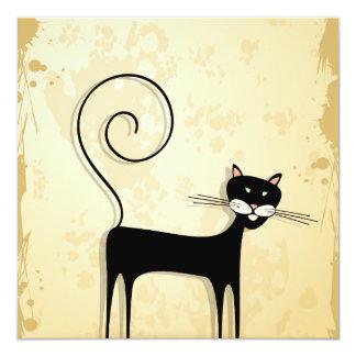 Gato negro invitación 13,3 cm x 13,3cm