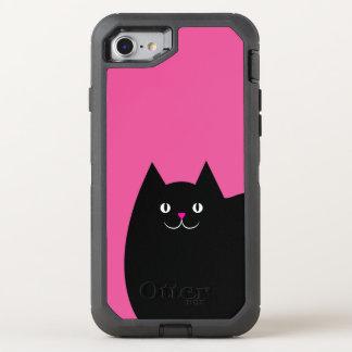 Gato negro lindo con una nariz rosada brillante funda OtterBox defender para iPhone 7