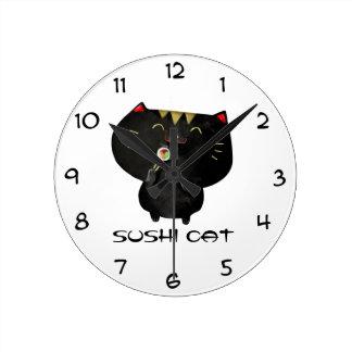 Gato negro lindo del sushi de Kawaii Reloj Redondo Mediano