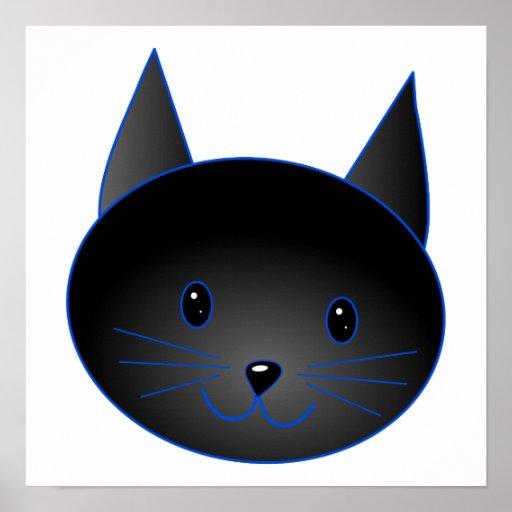 Gato negro lindo. Ejemplo del dibujo animado del g Póster   Zazzle
