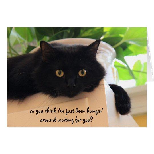 """Gato negro lindo, """"falta divertida que usted"""" tarjeta de felicitación"""