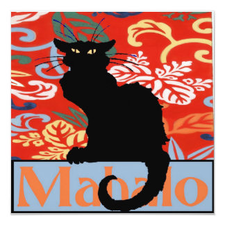 Gato negro, Mahalo, gracias, hawaianas Invitación 13,3 Cm X 13,3cm