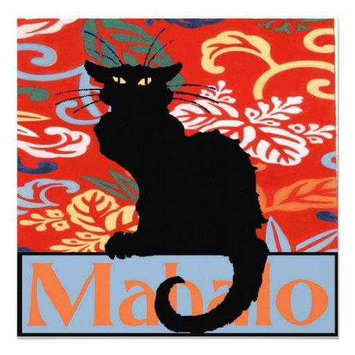 Gato negro, Mahalo, gracias, hawaianas Invitación