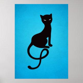 Gato negro malvado gracioso azul póster