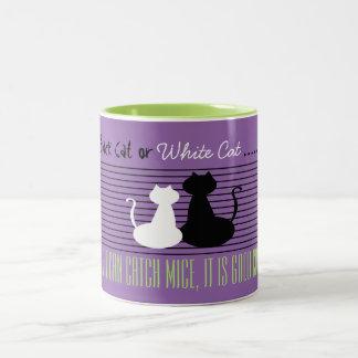 Gato negro o blanco - buen gato, taza verde