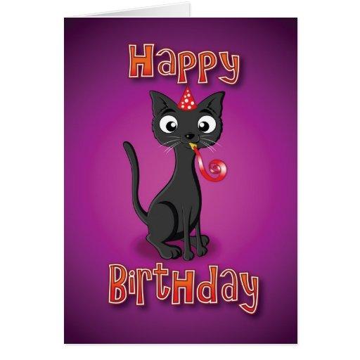 gato negro - silbido del hat& - feliz cumpleaños tarjeta