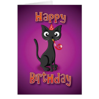 gato negro - silbido del hat& - feliz cumpleaños tarjeta de felicitación