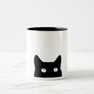 Gato negro taza dos tonos