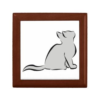 Gato negro, terraplén gris caja de regalo