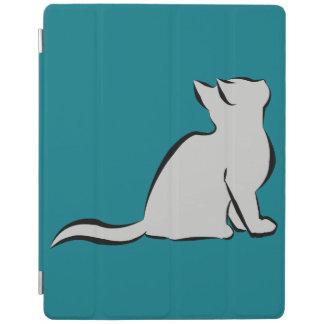 Gato negro, terraplén gris cubierta de iPad
