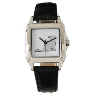 Gato negro, terraplén gris, texto interior reloj