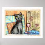 Gato negro, vino y impresión de la bella arte de l posters