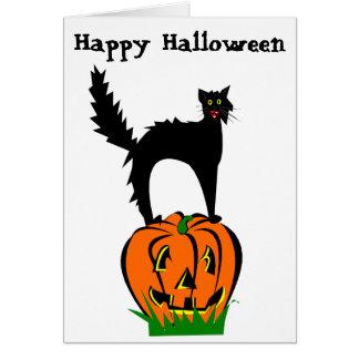Gato negro y calabaza divertidos de Halloween Tarjeta De Felicitación