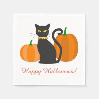 Gato negro y fiesta de Halloween de las calabazas Servilletas De Papel