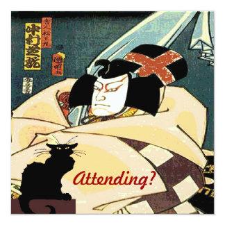 ¿Gato negro y hombre japonés, asistiendo? Invitación 13,3 Cm X 13,3cm