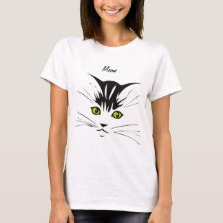 Gato observado amarillo del maullido camiseta