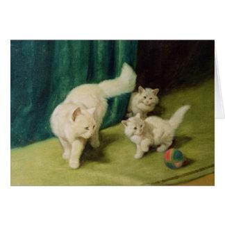 Gato persa blanco con dos gatitos tarjeta de felicitación