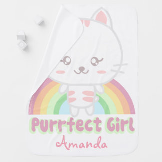 Gato personalizado lindo del kawaii mantita para bebé
