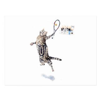 Gato que juega a tenis postal