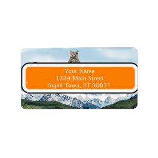 Gato que monta un tigre etiqueta de dirección