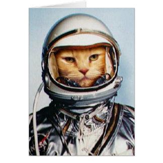 Gato retro del astronauta 60s tarjeta pequeña