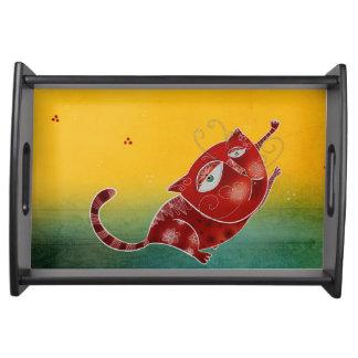Gato rojo bandejas