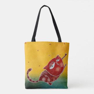 Gato rojo bolsa de tela