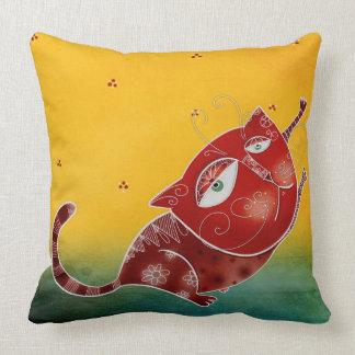 Gato rojo cojín decorativo