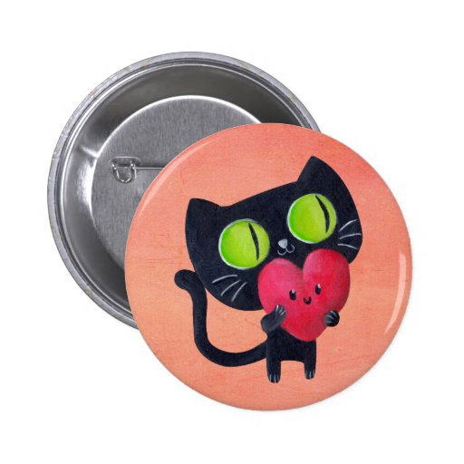 Gato romántico que abraza el corazón lindo rojo pins