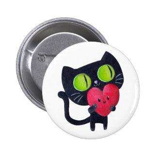 Gato romántico - texto de encargo - chapa redonda de 5 cm