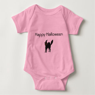 Gato rosado de Halloween del mono de la niña Body Para Bebé