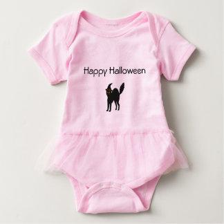 Gato rosado de Halloween del mono del tutú de la Body Para Bebé