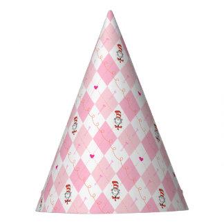 Gato rosado del Dr. Seuss Valentine el   Argyle en Gorro De Fiesta