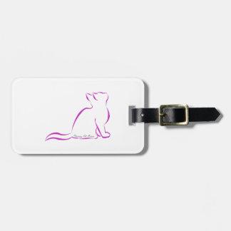 Gato rosado, silueta, texto interior etiqueta para maletas