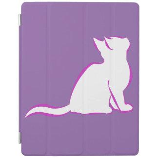 Gato rosado, terraplén blanco cubierta de iPad