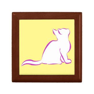 Gato rosado, terraplén blanco joyero